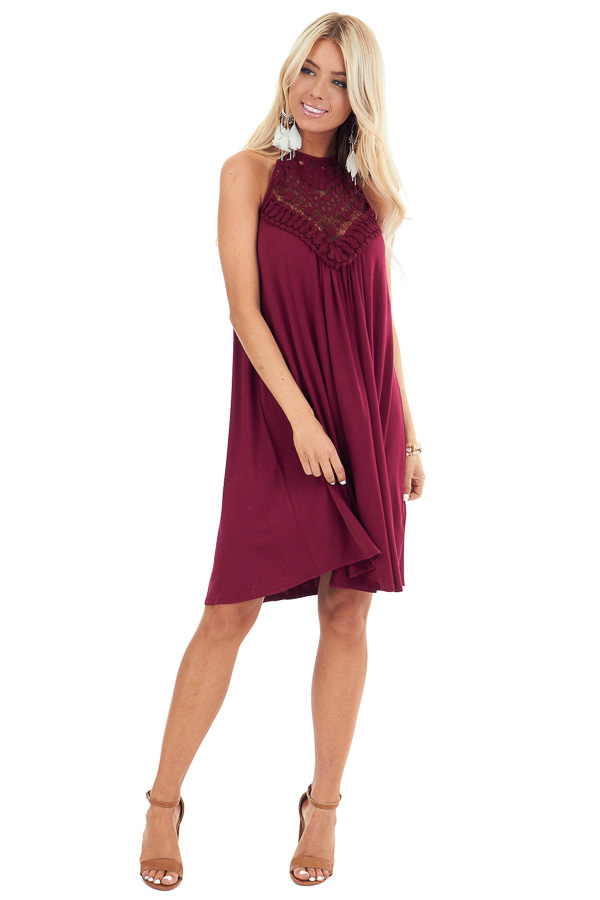 Burgundy Short Dress with Lace Front and Keyhole Back front full body