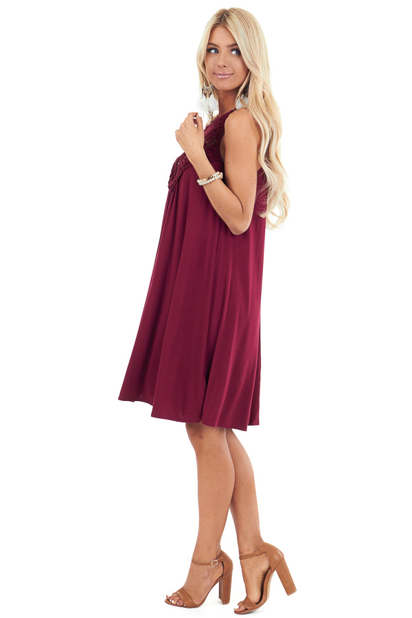 Burgundy Short Dress with Lace Front and Keyhole Back side full body
