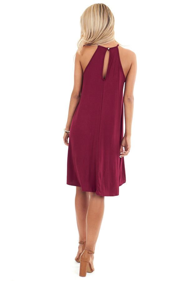 Burgundy Short Dress with Lace Front and Keyhole Back back full body