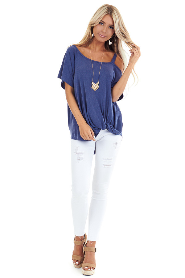 Vintage Blue Cold Shoulder Top with Front Twist front full body