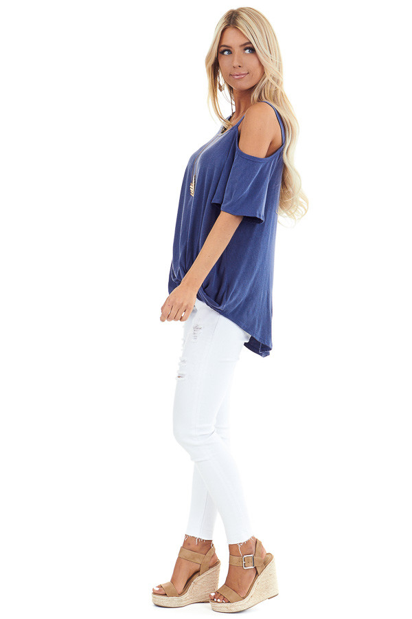 Vintage Blue Cold Shoulder Top with Front Twist side full body