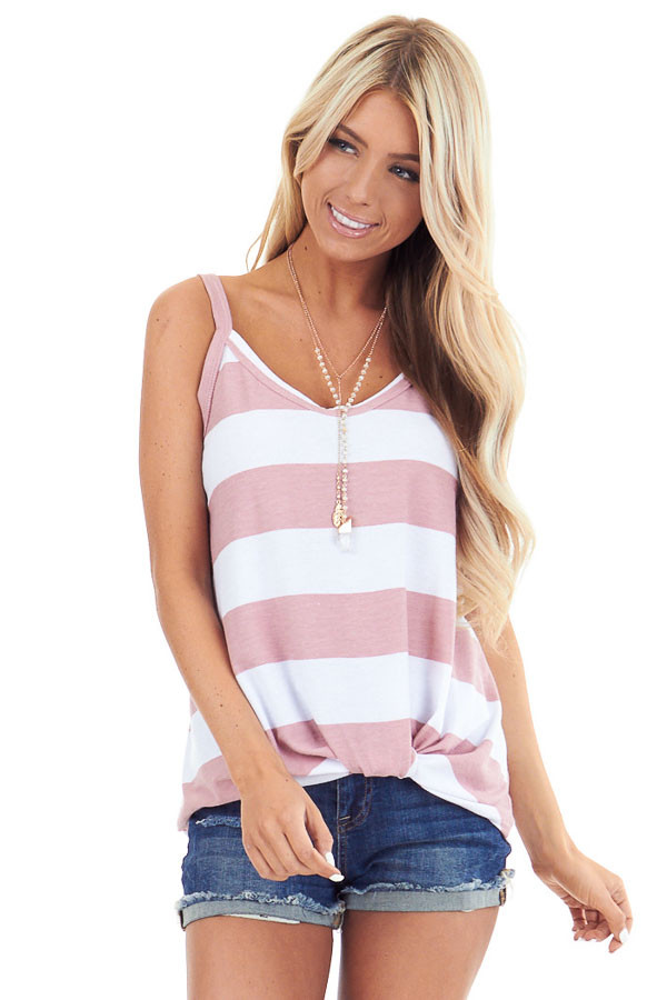 Blush and Pearl Striped Tank Top with Front Knot Detail front close up