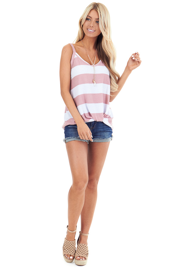 Blush and Pearl Striped Tank Top with Front Knot Detail front full body