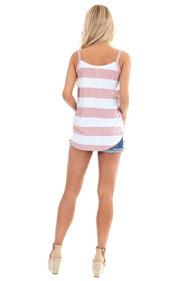 Blush and Pearl Striped Tank Top with Front Knot Detail back full body