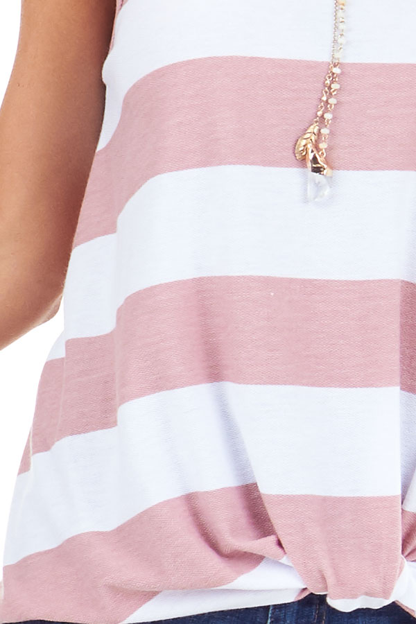 Blush and Pearl Striped Tank Top with Front Knot Detail detail