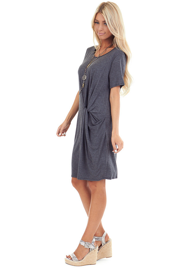 Charcoal Grey Short Sleeve Mini Dress with Front Twist side full body
