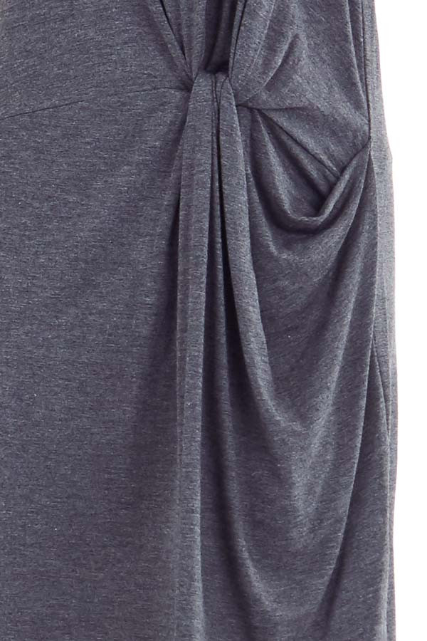 Charcoal Grey Short Sleeve Mini Dress with Front Twist detail