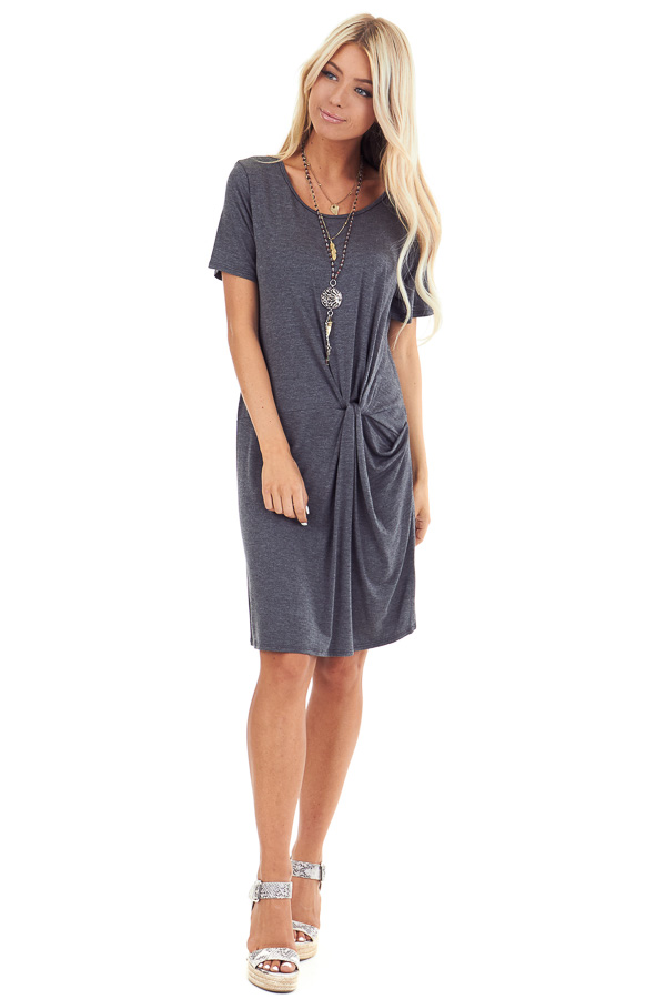 Charcoal Grey Short Sleeve Mini Dress with Front Twist front full body