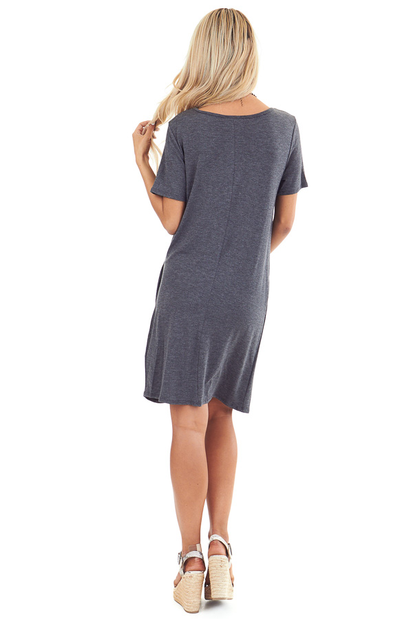 Charcoal Grey Short Sleeve Mini Dress with Front Twist back full body