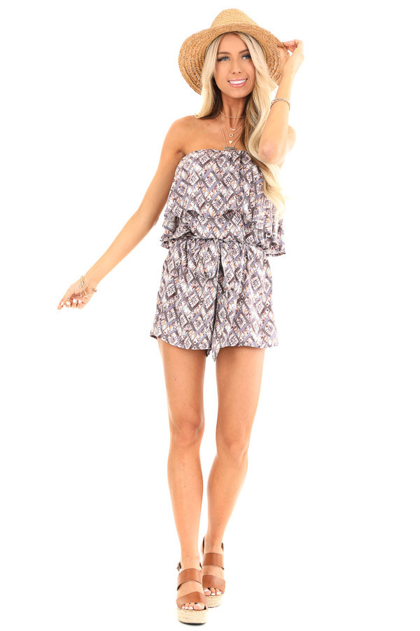 Dusky Grey Multi Print Strapless Romper with Ruffle Overlay front full body