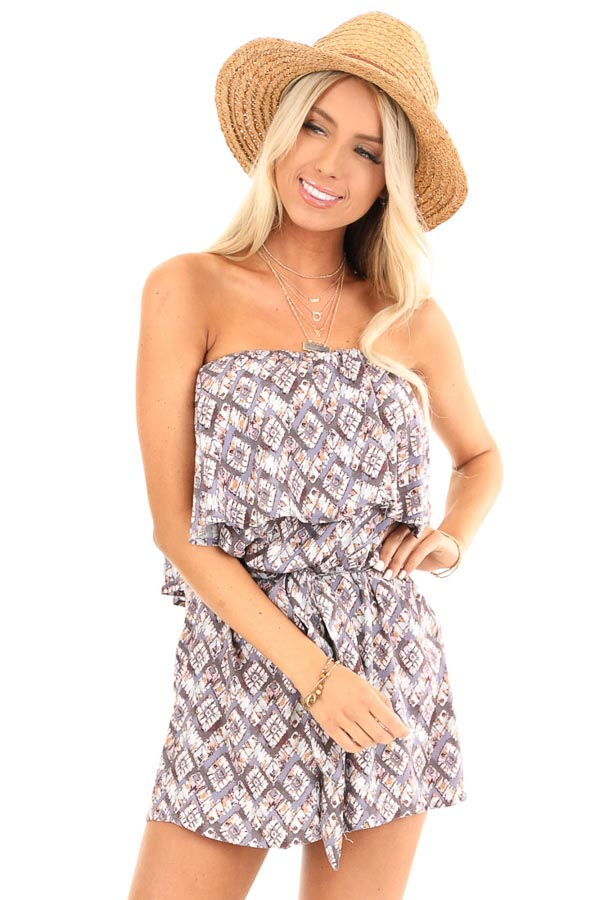 Dusky Grey Multi Print Strapless Romper with Ruffle Overlay front close up