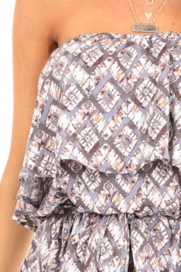 Dusky Grey Multi Print Strapless Romper with Ruffle Overlay detail