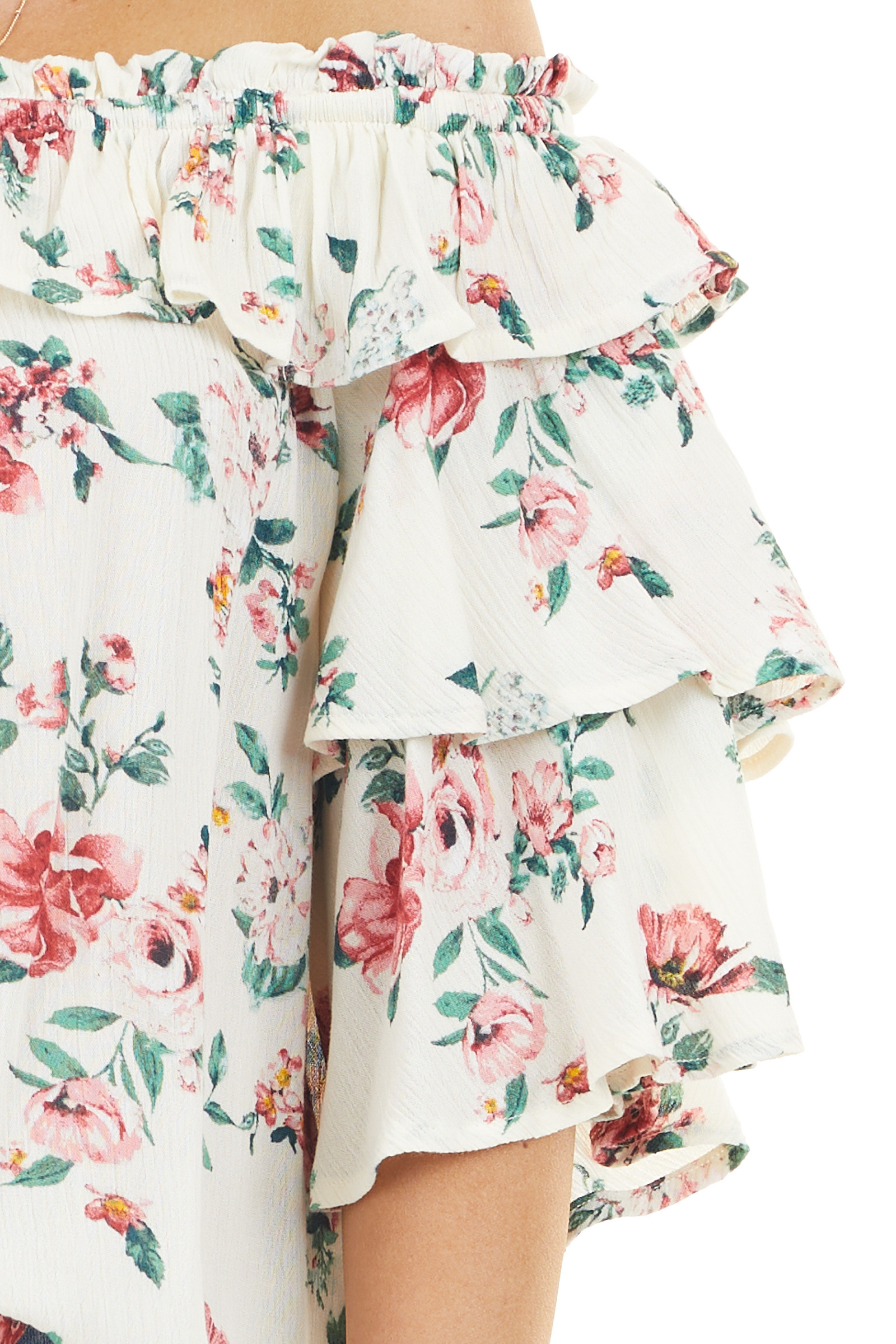 Cream Floral Print Off the Shoulder Top with Ruffle Details