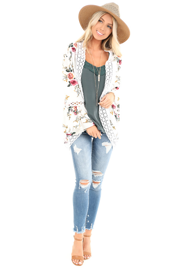 Off White Floral Kimono with Bell Sleeves and Lace Trim front full body