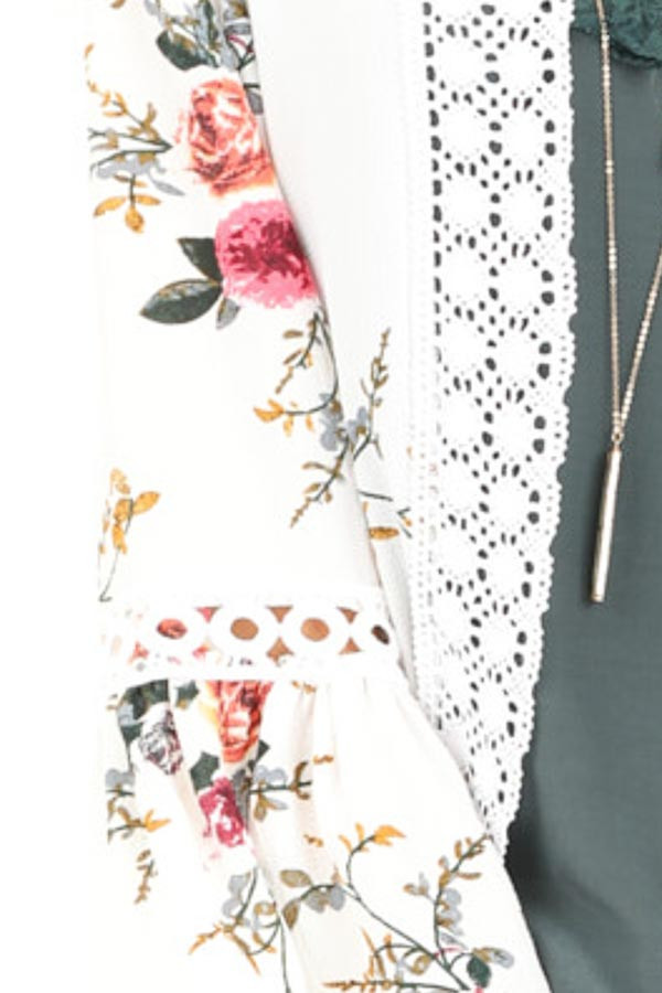 Off White Floral Kimono with Bell Sleeves and Lace Trim detail