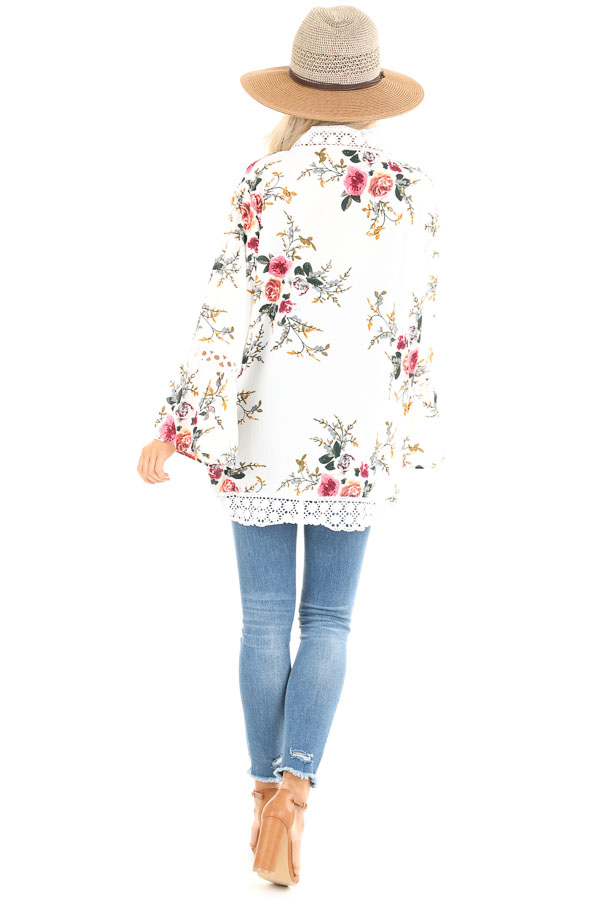 Off White Floral Kimono with Bell Sleeves and Lace Trim back full body