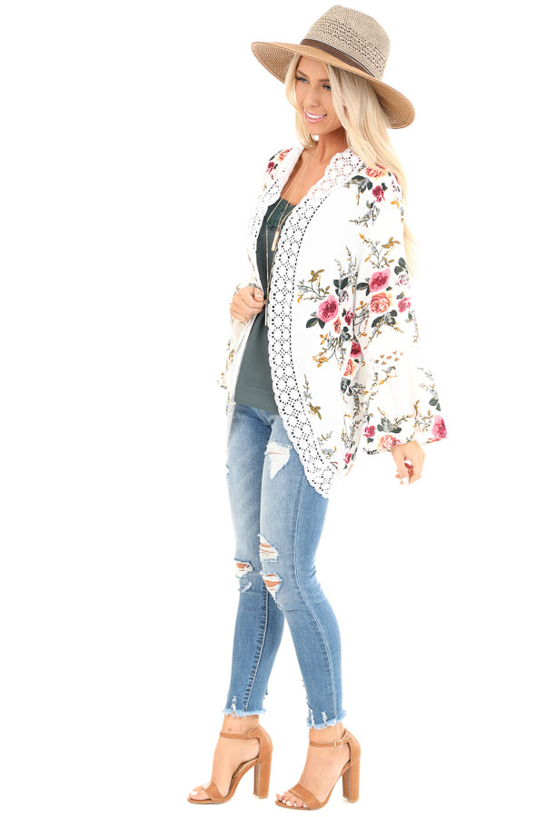 Off White Floral Kimono with Bell Sleeves and Lace Trim side full body