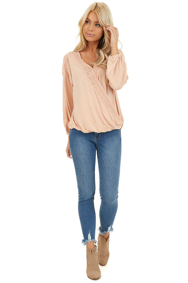 Peach Surplice Top with Lace Trim Detail and Open Back front full body