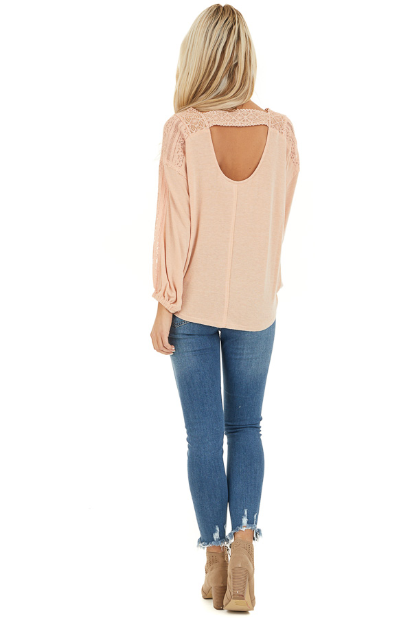 Peach Surplice Top with Lace Trim Detail and Open Back back full body