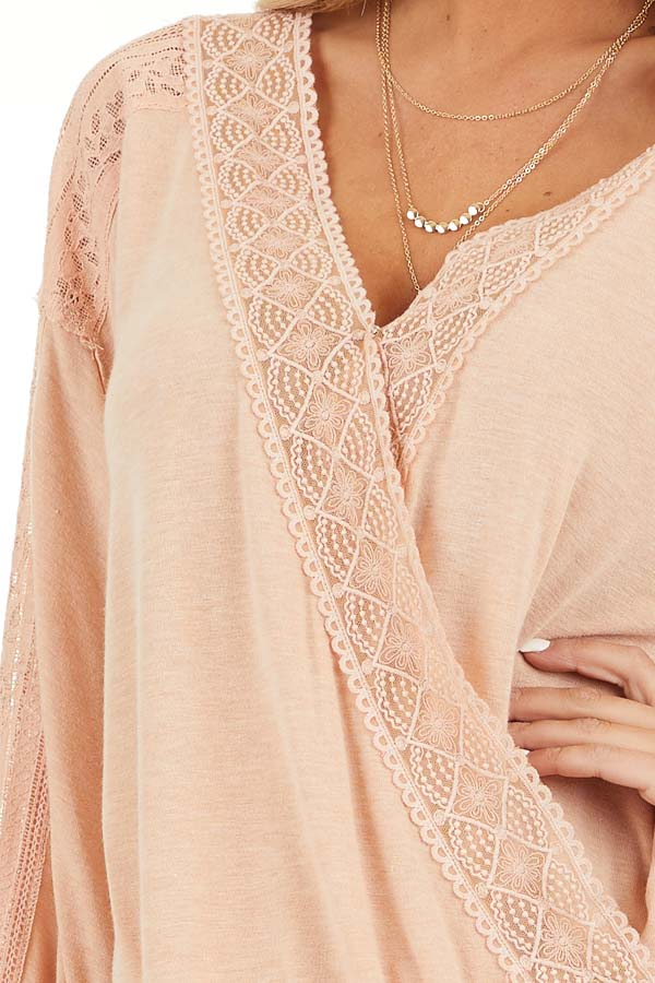 Peach Surplice Top with Lace Trim Detail and Open Back detail