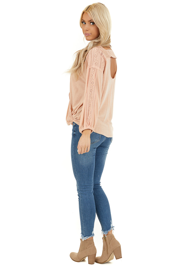Peach Surplice Top with Lace Trim Detail and Open Back side full body