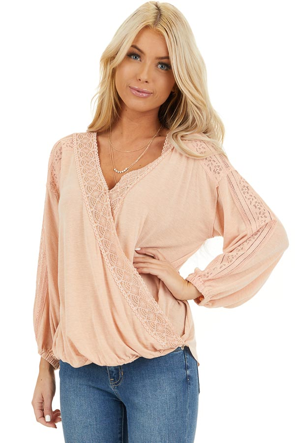 Peach Surplice Top with Lace Trim Detail and Open Back front close up