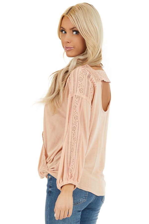 Peach Surplice Top with Lace Trim Detail and Open Back back side close up