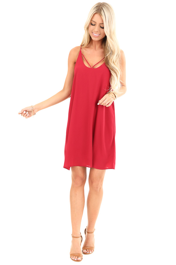 Scarlet Spaghetti Strap Mini Dress with Strappy Details front full body