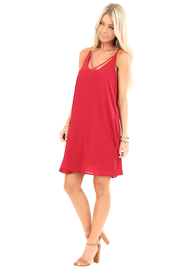 Scarlet Spaghetti Strap Mini Dress with Strappy Details side full body
