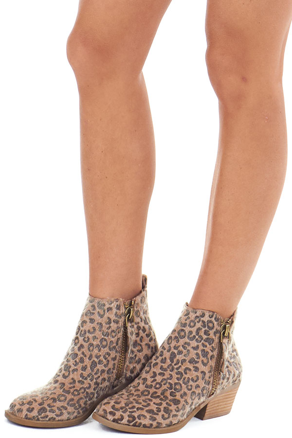 Leopard Print Fuzzy Bootie with Antique Gold Side Zippers front side view