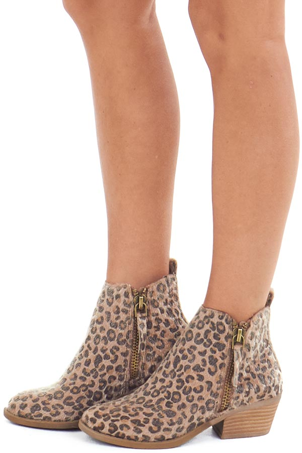Leopard Print Fuzzy Bootie with Antique Gold Side Zippers side view
