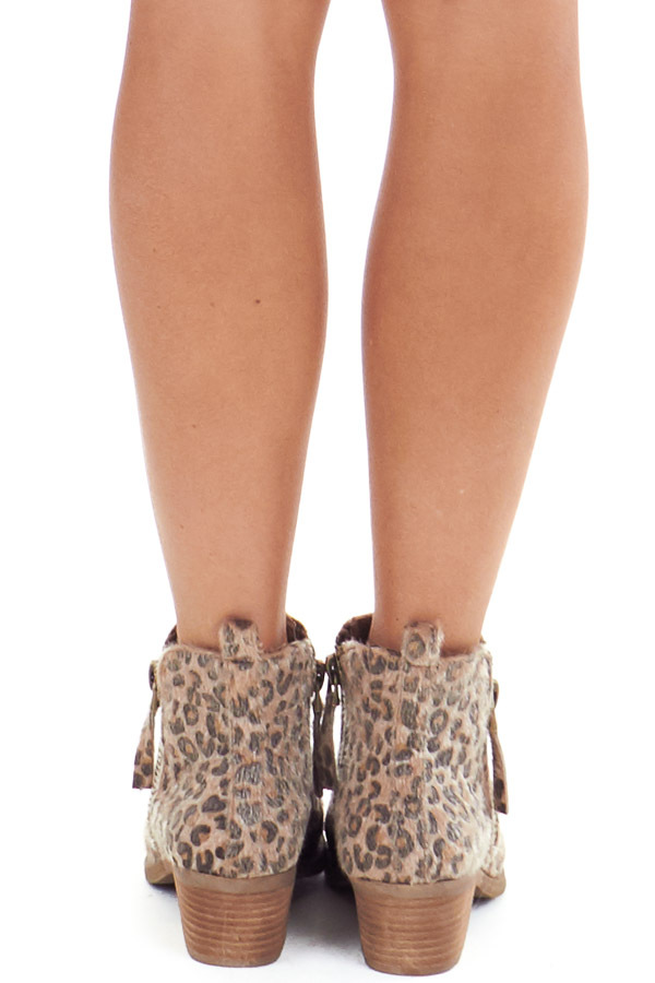 Leopard Print Fuzzy Bootie with Antique Gold Side Zippers back view