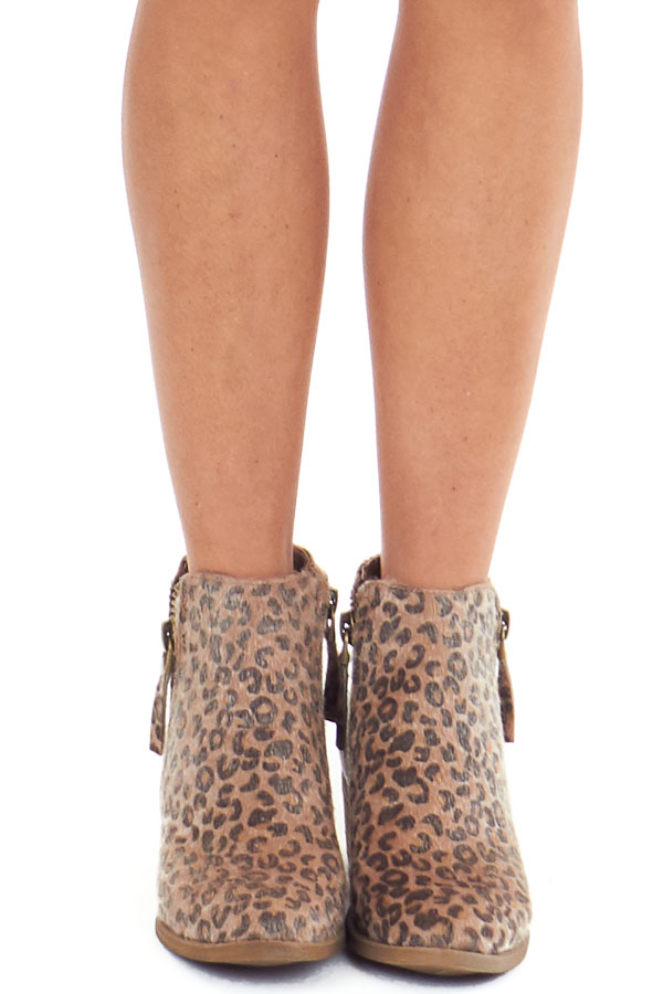 Leopard Print Fuzzy Bootie with Antique Gold Side Zippers front view
