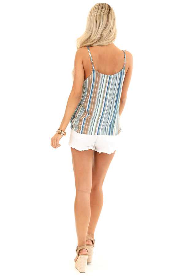 Pear and Clay Striped Button Up Tank Top with Front Tie back full body