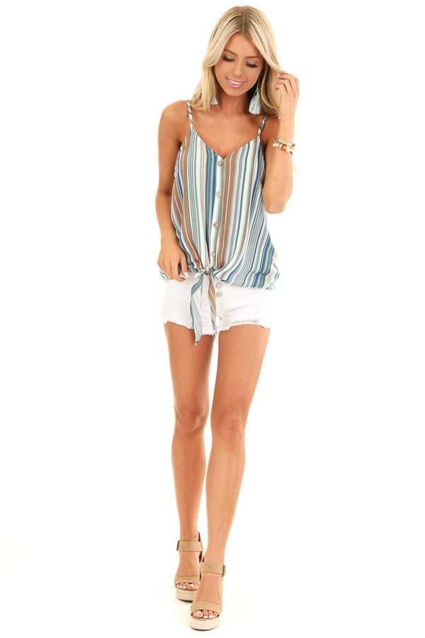 Pear and Clay Striped Button Up Tank Top with Front Tie front full body