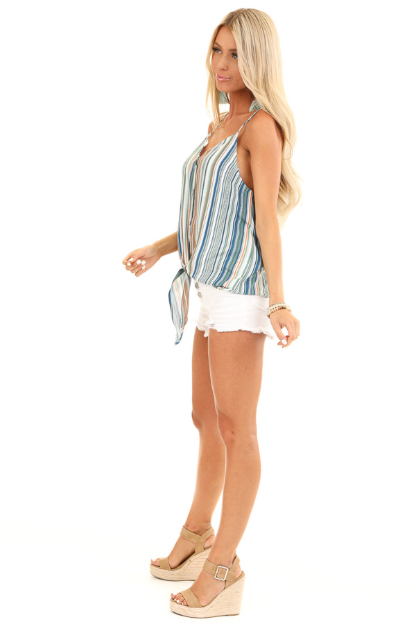 Pear and Clay Striped Button Up Tank Top with Front Tie side full body