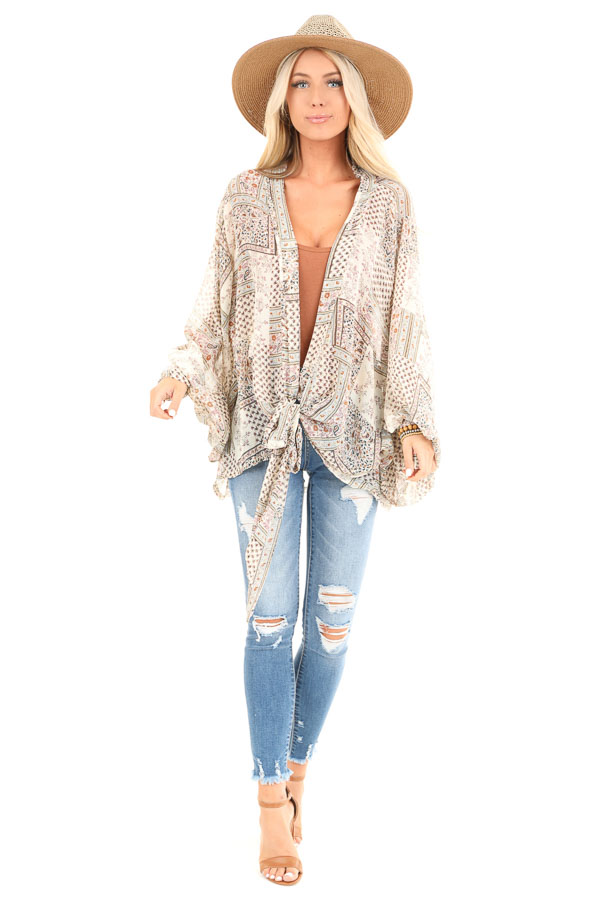 Taupe Long Sleeve Patchwork Print Front Tie Kimono front full body