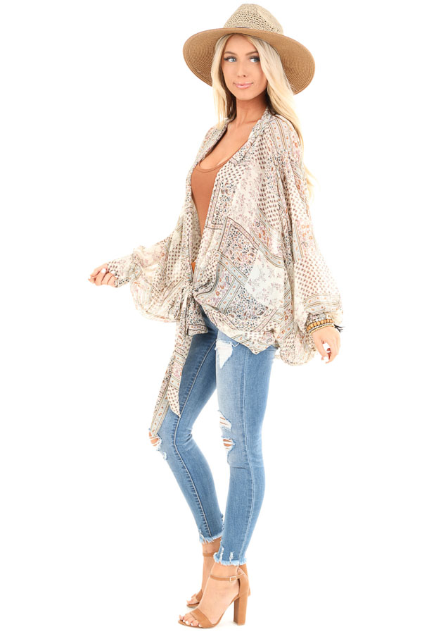 Taupe Long Sleeve Patchwork Print Front Tie Kimono side full body