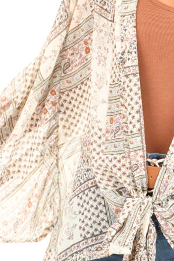 Taupe Long Sleeve Patchwork Print Front Tie Kimono detail