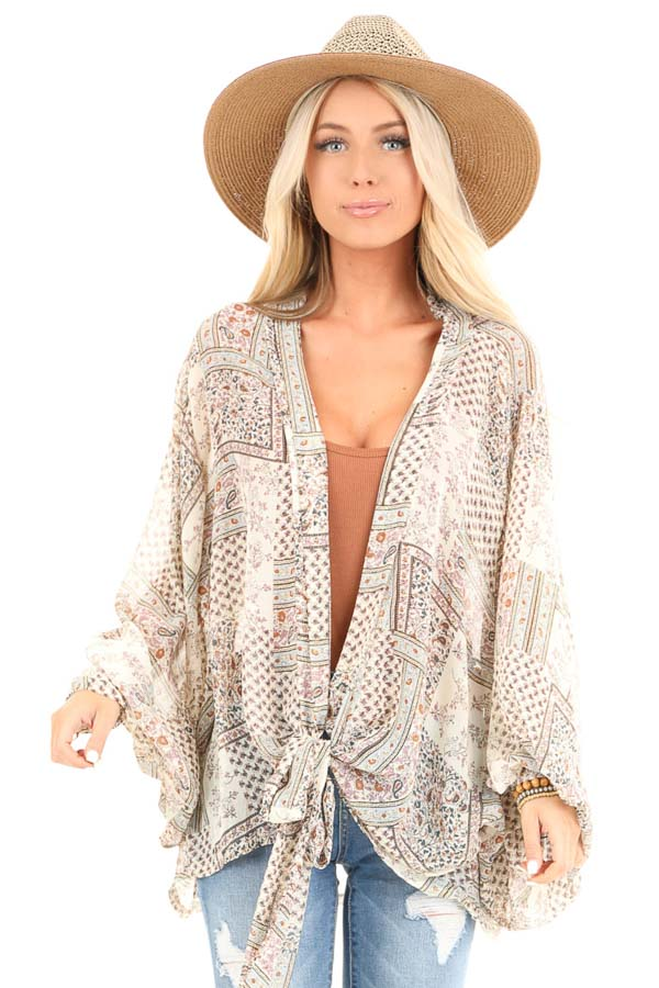 Taupe Long Sleeve Patchwork Print Front Tie Kimono front close up