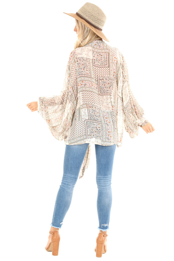 Taupe Long Sleeve Patchwork Print Front Tie Kimono back full body