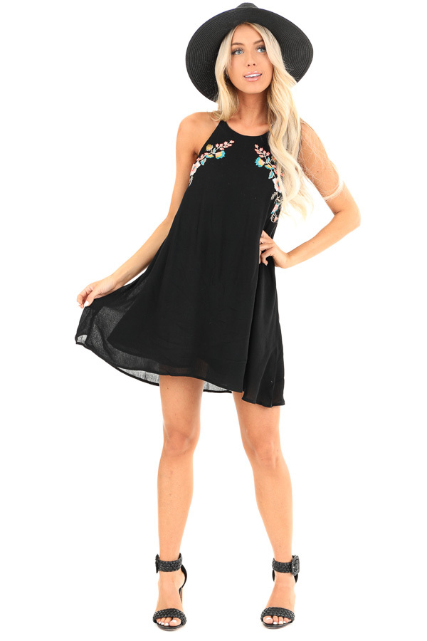 Obsidian Backless Halter Mini Dress with Floral Embroidery front full body