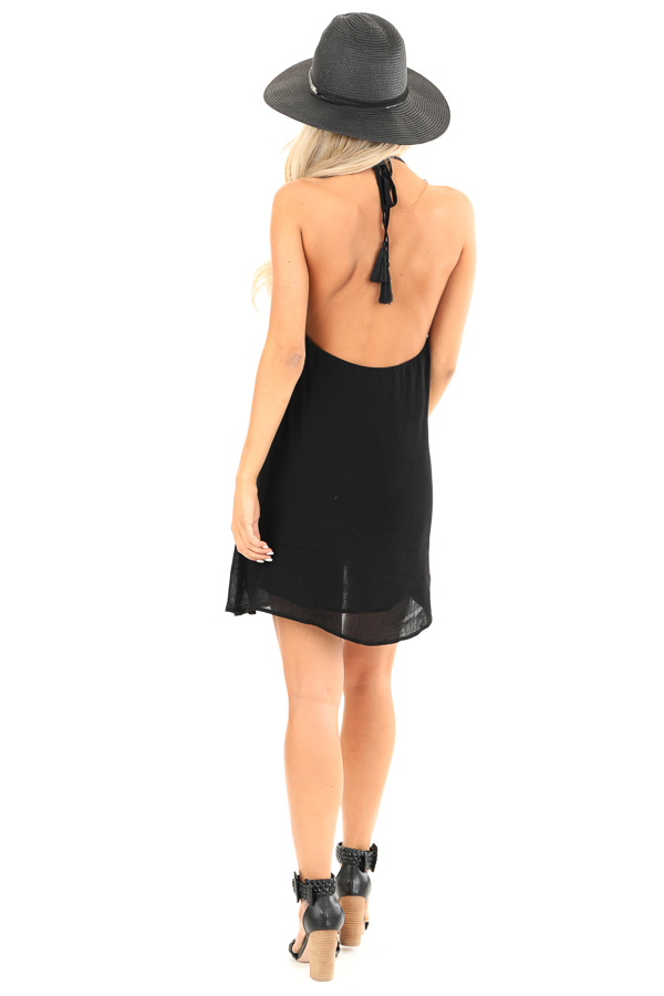 Obsidian Backless Halter Mini Dress with Floral Embroidery back full body