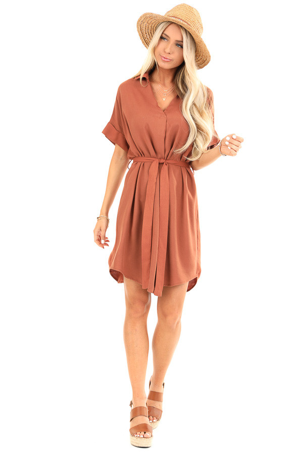 Cinnamon Short Sleeved V Neck Collared Shirt Dress with Tie front full body