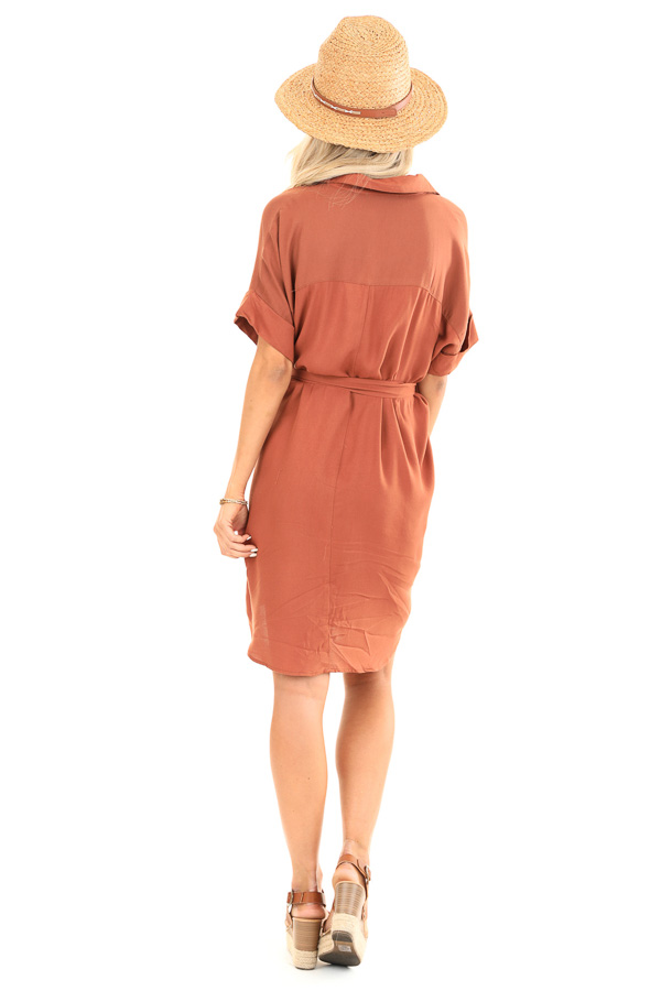 Cinnamon Short Sleeved V Neck Collared Shirt Dress with Tie back full body