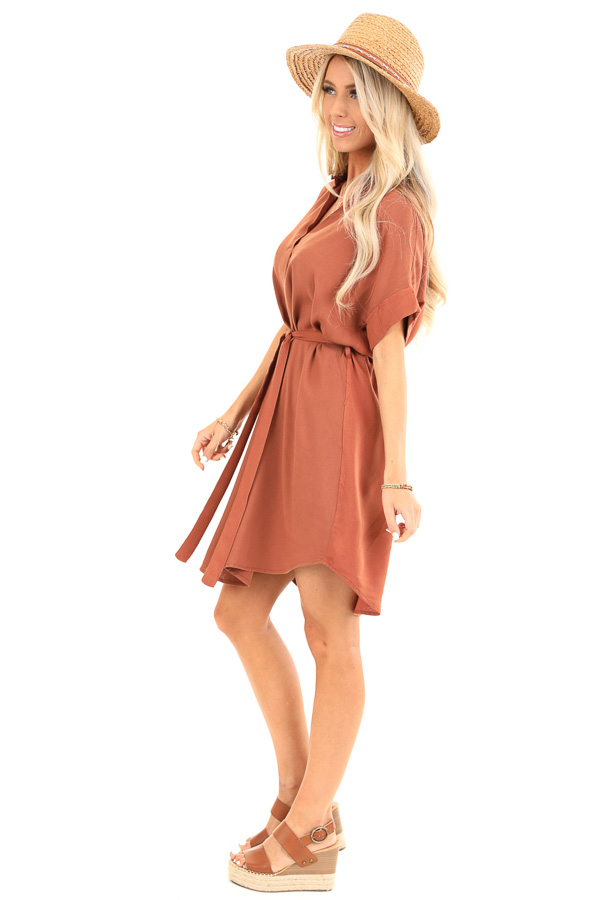 Cinnamon Short Sleeved V Neck Collared Shirt Dress with Tie side full body