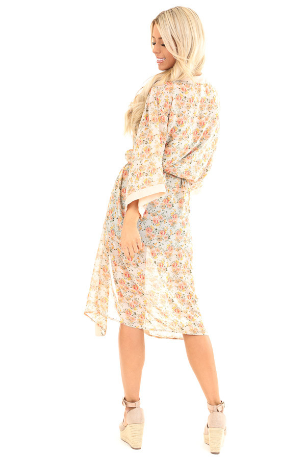Peach Floral Print Open Front Kimono with Waist Tie back full body