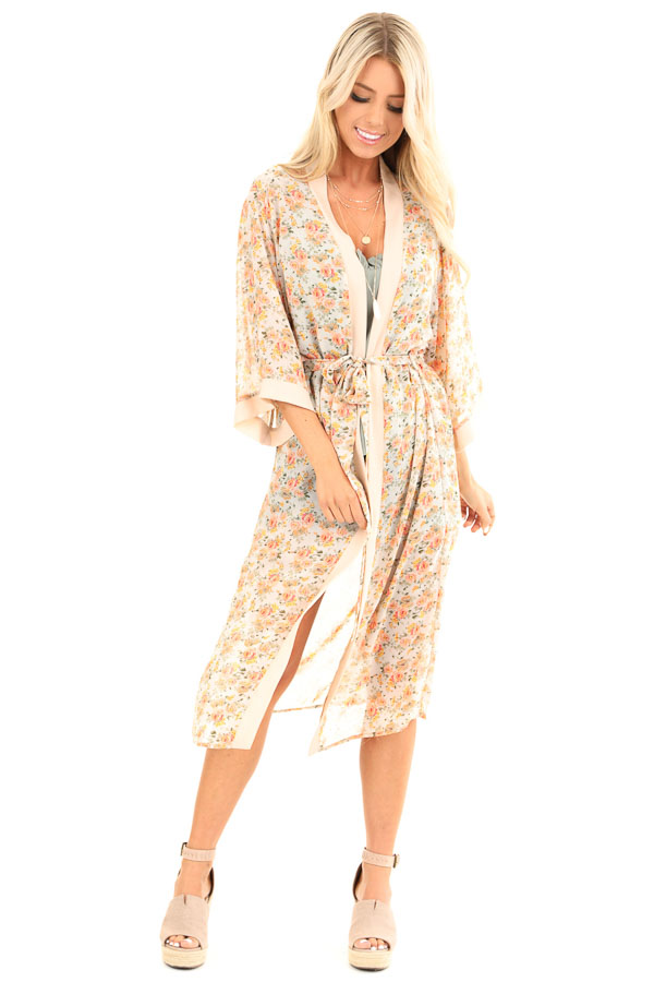 Peach Floral Print Open Front Kimono with Waist Tie front full body