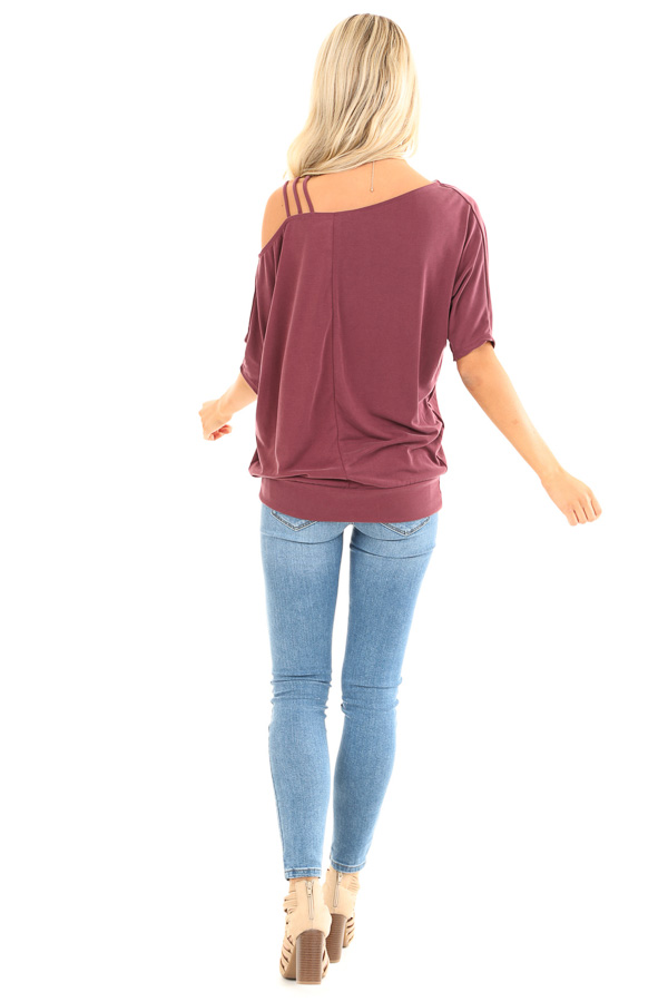 Faded Burgundy Soft Asymmetrical Off the Shoulder Top back full body