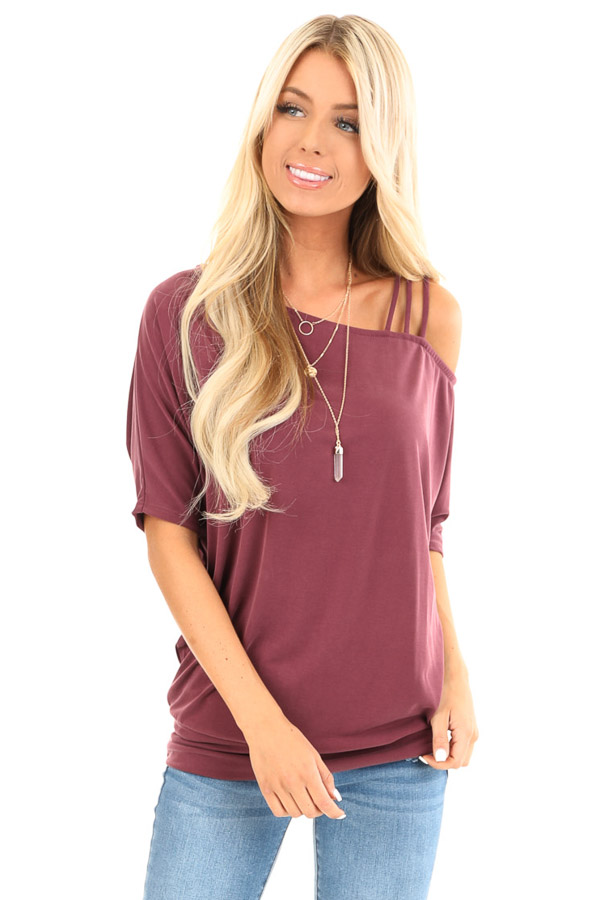 Faded Burgundy Soft Asymmetrical Off the Shoulder Top front close up